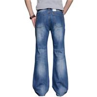 bottes hautes pour hommes achat en gros de-2018 Hommes Big Jean évasé Boot Jambe Coupe évasée Loose Fit haute taille Mâle Designer Classic Denim Jeans Pantalon Bell Bottom