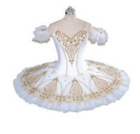 traje de ballet de tutu blanco al por mayor-Adulto Ballet Profesional Tutu Oro Blanco Muñeca de Hadas Panqueque Rendimiento Tutus Mujeres Ballet Clásico Etapa Disfraces BT9056