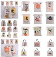 cadılar bayramı eşyaları toptan satış-Sıcak Halloween çantalar Parti 15 Stiller İpli Hediye Çanta Kanvas Santa Çuval Stuff Sacks Bez Çantalar Cadılar Bayramı için Tuval Şeker Çanta Malzemeleri