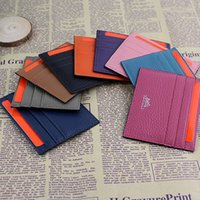 Wholesale Woman Slim Card Holder - Ultra-thin Real Leather Wallet ID Card Holder Fashion Classic Design Men Women Credit Card Holder Slim Bank ID Card Case Pocket Bag