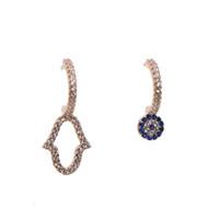 winzige blumen großhandel-2018 neue Design Mode Asymmetrische Ohrringe Für Frauen Trendy Bijoux Tiny Blue Flower Unregelmäßige Geometrische Tropfen Baumeln Ohrringe