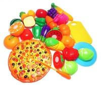 çocuklar mutfak yiyecek seti toptan satış-Mutfak Oyuncaklar Oyna Pretend 24 adet / takım Çocuklar Kesme Meyve Sebze Minyatür Güvenlik Gıda seti Çocuklar için Eğitim Klasik Oyuncak