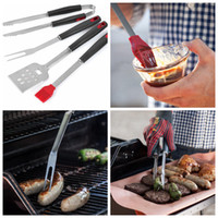 Wholesale barbecue tongs - Stainless Steel Barbecue Tong Brush Fork BBQ Grill Tool 4pcs Set Steak Fork Roasting Grill Tools Kitchen Gardgets 12Sets OOA5041