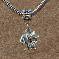 jóias do bebê para a mãe venda por atacado-MIC 100 pçs / lote Antiqued Prata Elefante Mamãe E Bebê Dangles Beads Fit Charme Europeu Pulseira Jóias DIY Metal 14x27.5mm A-214a