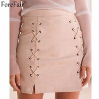 Wholesale Fashion Trends Skirts - Wholesale- ForeFair Latest Trend Suede Empire Two Sides Lacing Vintage Skirt Plus Size Saia Back Zipper Slim Mini Pencil Skirts Womens
