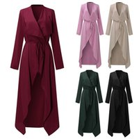 Wholesale long womens dress coats - Womens Long Sleeve Maxi Belted Coat Jacket Casual V-Neck Trench Coats Women's Clothing Tops Shirt