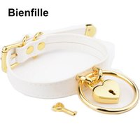 Wholesale Locked Metal Collar - Designed Sexy Unique Choker Silver Gold Metal Padlock Heart Lock Hanging O Round Sub Fetish Collar BDSM White PU Leather Collars