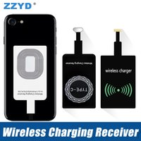 Wholesale film charger - ZZYD Universal Qi Wireless Power Charger Receiver Film Wireless Charger Charging Receiver Module Sticker For Samsung S7 iP6 7Smart phone