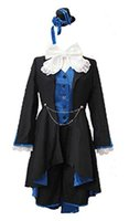 cosplay butler Australia - Ciel Phantomhive Costume Black Blue Outfit Hat Black Butler Cosplay