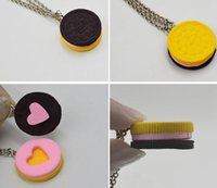 Wholesale food lovers - 2pcs set ! Resin Black Chocolat Cookie Necklace Puzzle Food Design Men Women Best Friend BFF Forever Friendship Lover Gifts 10SET 20PCS