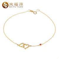 elmas tasarım bilezikleri toptan satış-Shifuyuan yeni tasarım katı 18 k altın kalp ile kalp şekli elmas ruby Zincir Link bilezikler kadınlar için güzel takı S04102S