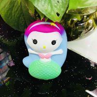 Wholesale doll lowest online - Jumbo Squishy Mermaid Cartoon Kawaii Cute Lowing Rising Squishies Vent Phone Bag Charms Bread Cake Kid Toy Doll Gift Fun ys Y