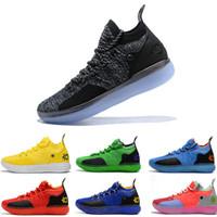 gri kd ayakkabı toptan satış-2019 ZOOM KD Kevin Durant 11 XI seattle Paranoyak Emoji Erkek Basketbol Ayakkabıları Için serin gri Üçlü Siyah Elite Atletik Spor Sneakers
