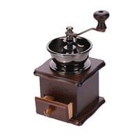 Wholesale quality coffee grinder - Classical Wooden Mini Coffee Grinder Manual Stainless Steel Retro Coffee Spice Mill With High-quality Porcelain Movement