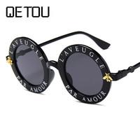 arı şekerleme toptan satış-QETOU Punk Güneş Gözlüğü Trend Küçük Arı Dekorasyon Şeker Renk Kadınlar Yuvarlak Sung lasses Moda Erkekler Gözlük UV400