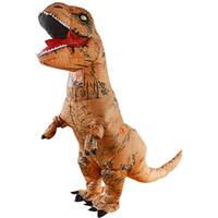 şişirilebilir maskot kostümleri toptan satış-Yetişkin Trex Dinozor şişme Kostüm Jurassic Dünya T-Rex Fantezi Elbise Cadılar Bayramı suit Kahverengi Parti maskot Kostüm