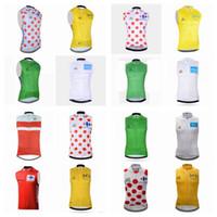 Wholesale tour france vests - TOUR DE FRANCE team Cycling Sleeveless jersey Vest Hot sale High-Quality men Breathable Bicycle Clothing Sportswear tight vest Q42112