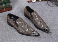 snakeskin elbise ayakkabı erkek toptan satış-Mavi Snakeskin Baskılar Erkekler Loafer'lar Ayakkabı Sivri Burun Hakiki Deri Elbise Parti Ayakkabı Damat Düğün Flats Payetli ayak ...