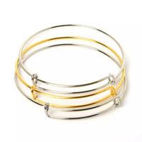 pulseras de hierro chapado al por mayor-Venta al por mayor-Venta caliente de oro / rodio plateado ajustable pulseras brazalete de hierro de moda pulseras de alambre para joyería de las mujeres
