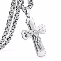 Wholesale byzantine crosses resale online - Crucified Jesus Cross with Carved Word Christian Pendant Necklaces Jewelry for Men Heavy Link Byzantine Chain quot mm MN60
