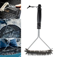Wholesale galvanizing steel - Barbecue BBQ Grill Brush Non-stick Barbecue Cleaning Brush Stainless Steel Wire Bristles Cleaning Brushes With Handle Durable Kitchen Tool