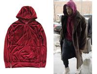 jaqueta de veludo venda por atacado-KANYE WEST Veludo Pullover Hoodies Calças Compridas Fato de Treino Das Mulheres Dos Homens de Alta Qualidade De Veludo Camisola Corredores Calças Listrado Ternos
