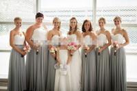 zwei tonvorhänge großhandel-Zweifarbig Weiß Silber Grau Brautjungfer Kleider Schatz Falten Drapierte Chiffon Plus Size Lange Brautjungfern Kleid Hochzeitsgast Kleider
