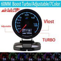 Wholesale race display - Wholesale-7-Color-in- Gauge Turbo Boost Gauge GRedi 7 Light Colors LCD Display With Voltage Meter 60mm 2.5 Inch With Sensor Racing Gauge
