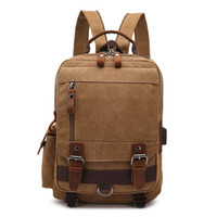 образец бизнеса оптовых-Классический холст рюкзак путешествия рюкзак с USB порт для зарядки для студентов колледжа мальчик бизнес-мужчин ноутбук вещевой рюкзак бесплатный образец