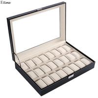 Wholesale Wood Jewelry Organizer Case - 2017 PU Leather Watch Display Box 24 Grid Watch Case Jewelry Storage Organizer