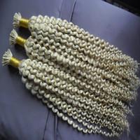 extensiones de cabello fusión 1g al por mayor-613 Rubio 1g / strand Remy pre consolidado extensión del cabello humano Kinky rizado Fusion pelo queratina Cápsulas I Tip pelo colorido 300g