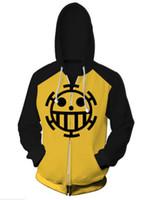 costumes d'une seule pièce achat en gros de-Trafalgar Law une pièce luffy héros Veste Top Coat Adulte 3D Imprimé Cosplay Costume zelda manteau à capuche veste de sport