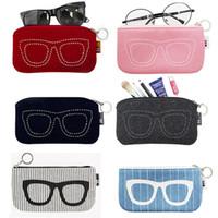ingrosso borse per occhiali-Custodia per occhiali da sole in feltro Custodia per occhiali da sole per occhiali da donna Custodia per occhiali Custodia per occhiali Accessori per occhiali Borse per cosmetici 6 COLORI DHL 200
