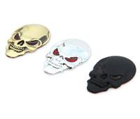 ingrosso adesivi per auto suv-1 Pz New 3D Metallo Cranio Logo Emblem Sticker Car SUV Copertura Esterna Del Corpo Parafanghi Decalcomanie Auto-styling 3D Adesivi