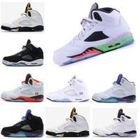 hakiki deri basketbol ayakkabıları toptan satış-Toptan klasik 5 kırmızı mavi suade OG Siyah Metalik Erkek Basketbol Ayakkabıları 2018 yeni moda Hakiki Deri yeni stil erkek Sneakers
