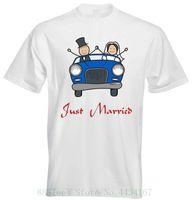 ingrosso matrimonio auto coppia-Just Married Classic Vintage blu Car Bride Groom Wedding Couple Mens T Shirt Mens Mens Tee retrò