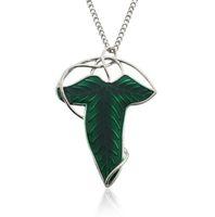 collar de perlas colgante al por mayor-Nueva Llegada Señor de los Anillos Hoja Verde Elven Pin Broche Colgante Con Collar de Cadena envío gratis