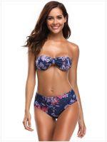 conjuntos de bikini sin tirantes al por mayor-Sin tirantes de verano Push Up acolchado Swinwear floral impreso Bikini establece mujeres Sexy estilo brasileño Sliming traje de baño S-XL