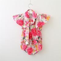 Wholesale organic baby rompers - Hug Me Toddler Girls Clothing Baby Rompers 2018 Summer Fashion Print Tassels Romper Sleeveless Cotton Romper VL-1715