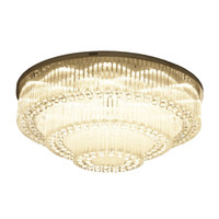 Wholesale light fluorescent ceiling flush online - Luxurious Modern Crystal Chandelier Round high end K9 Crystal ceiling Light Fixtures for living room dining room