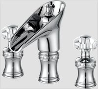 Wholesale chrome ceramic basin handles resale online - 3 quot Widespread Basin Lavatory sink Faucet Waterfall Chrome Color crystal handles deck mounted