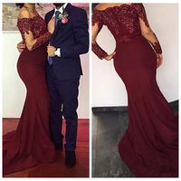 Wholesale Long Dresses Cheap Online - 2018 Dark Red Lace Appliques Evening Dresses Bateau Neck Long Sleeves Sequins Lace Appliques Satin Cheap Prom Gowns Custom Online
