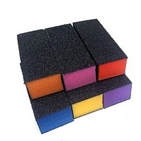 Wholesale buff color - 100pcs Lot black Sanding block mix color hear heart Buffing Sanding Buffer Files Block Acrylic Nail Art Manicure Set