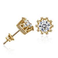 conjunto de jóias cor ouro venda por atacado-Mulheres Cubic Zircon Brincos em Crown Setting (Gold) Para Mulheres Meninas Brincos Jóias 5 Cor Selecione E50