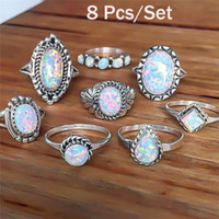 Wholesale opal real resale online - 8PCS Set Women White Color Real Sterling Silver Jewelry Natural Fire Opal Stone Solid Silver Thin Band Rings