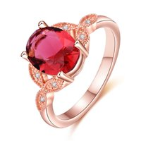 Wholesale garnet crystals ring for sale - Group buy Handmade Oval Red Garnet Rose Gold Rings Gemstone Silver For Woman Crystal Zirconia Rings Jewelry Size
