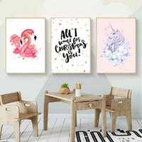 ingrosso muro di kawaii-Kawaii Flamingo Unicorn Nursery Tela Poster Stampe Su Tela Pittura Wall Art Immagini Per Bambini Soggiorno Home Decor