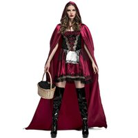 Wholesale Ladies Hooded Cloaks - 2018 Adult Women Halloween Costume Little Red Riding Hooded Robe Lady Cosplay Dress Suits Cloak Outfit For Girls Plus Size