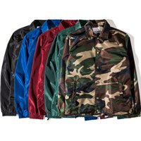 Wholesale 3xl Camo Jacket - Spring Black Jacket Men's Windbreaker Waterproof Coats Camo Military Jacket Outerwear Hip Hop Unisex Streetwear Masculina Jaqueta BFSG1210