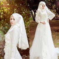 vestido de tul hijab venda por atacado-Muçulmano Terbaru Vestidos De Noiva Hijab Véu Sparkly Beads Cristais Tulle Lace Vestidos De Noiva Mangas Compridas Varrer Trem Vestidos De Noiva